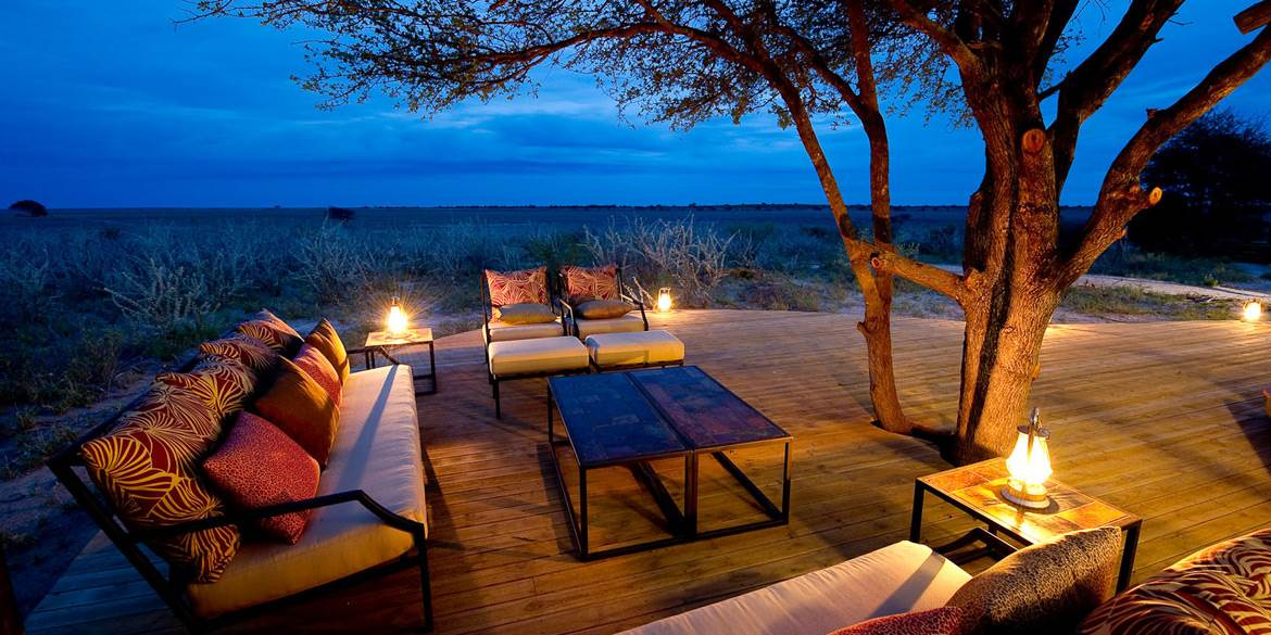 Luxury outside decking area at Kalahari Plains safari camp Botswana
