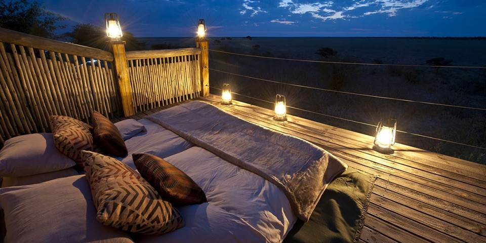 Star bed overlooking the Central Kalahari