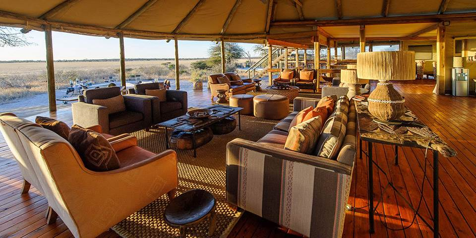Lounge area at luxury Kalahari Plains safari camp