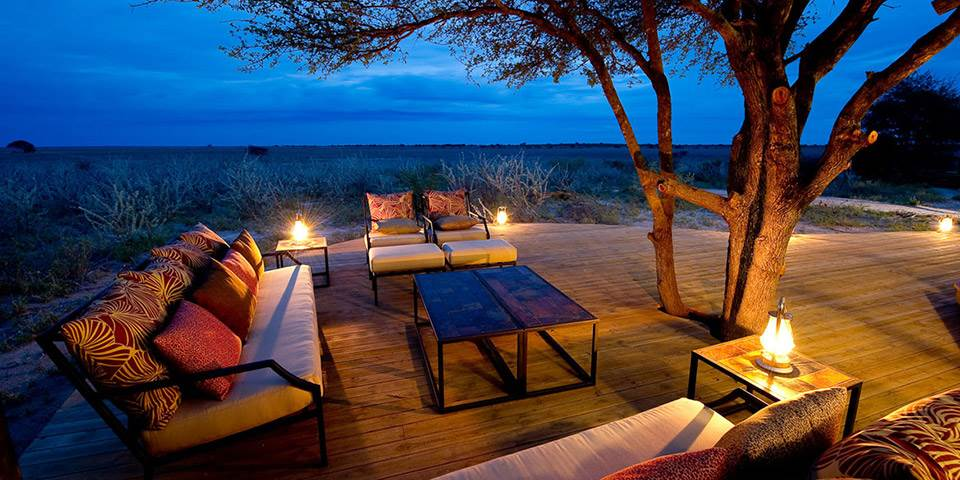 Outside seating area overlooking the Kalahari plains