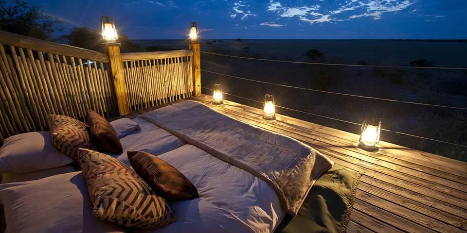 Star bed over looking the Kalahari plains