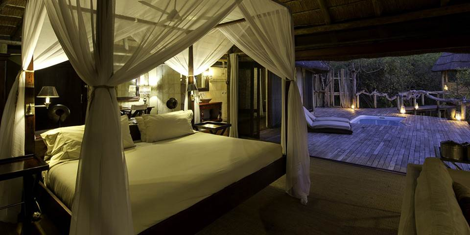 Luxury bedroom interior of safari camp in Botswana's Linyanti