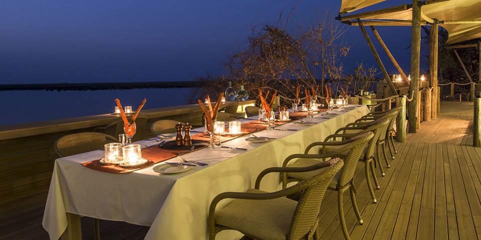 Outside dining area at Duma Tau luxury safari camp in the Linyanti