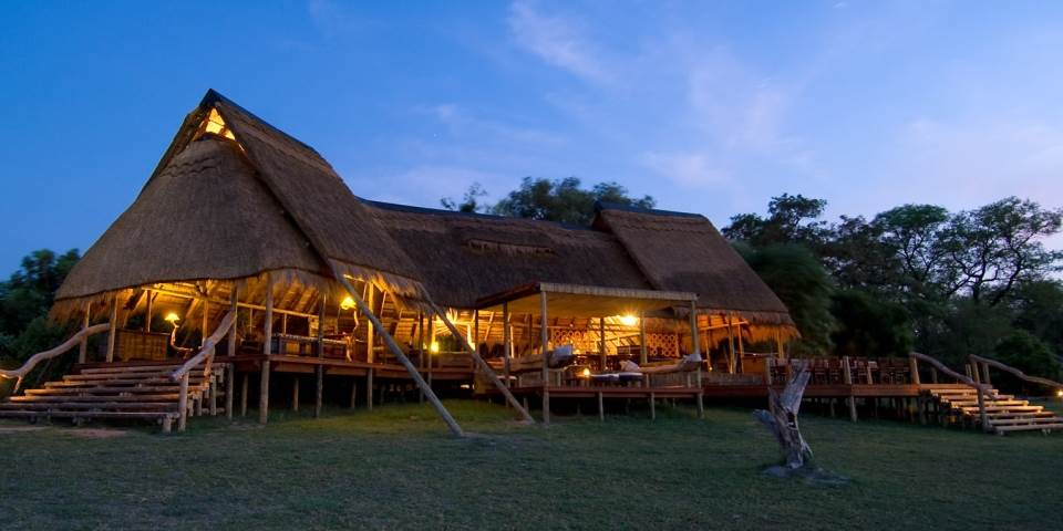 Exterior of luxury Selinda safari camp in Botswana's Linyanti Game Reserve