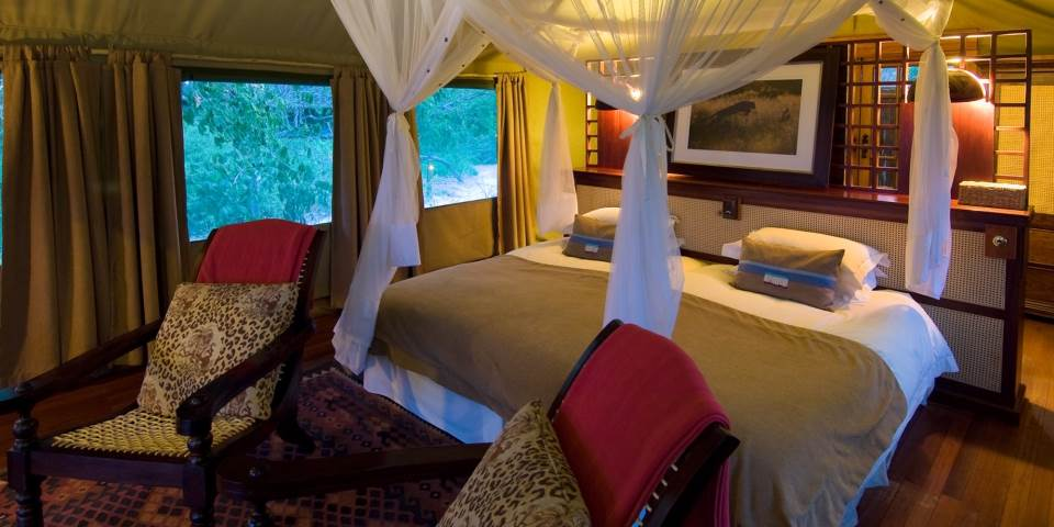 Luxurious bedroom at Selinda safari camp