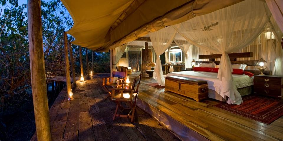 Bedroom in tented Zarafa safari camp