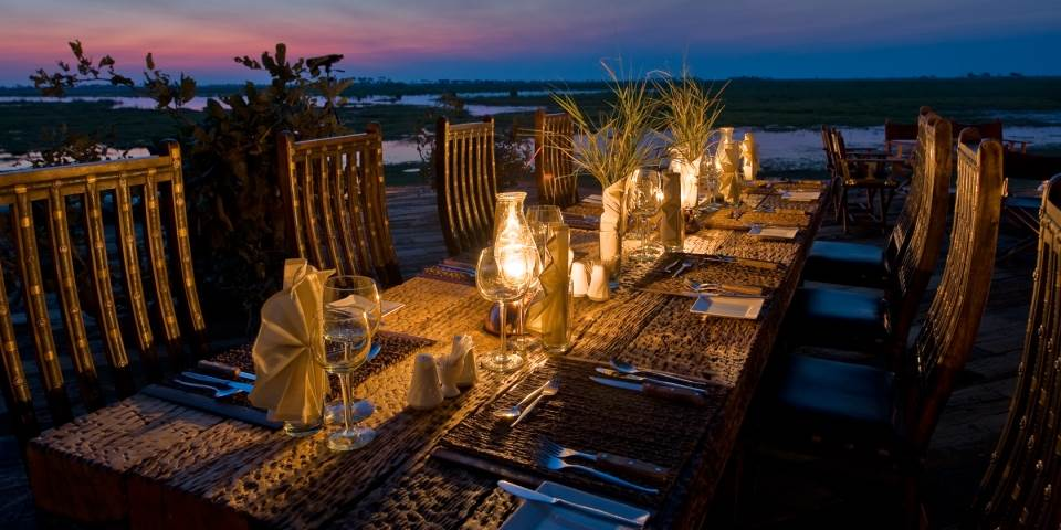Outside dining area at luxury Zarafa safari camp