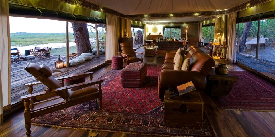 Luxurious lounge area at Zarafa safari camp in the Linyanti