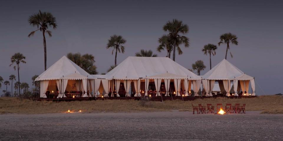 Luxury tented safari accommodation at San Camp in Botswana