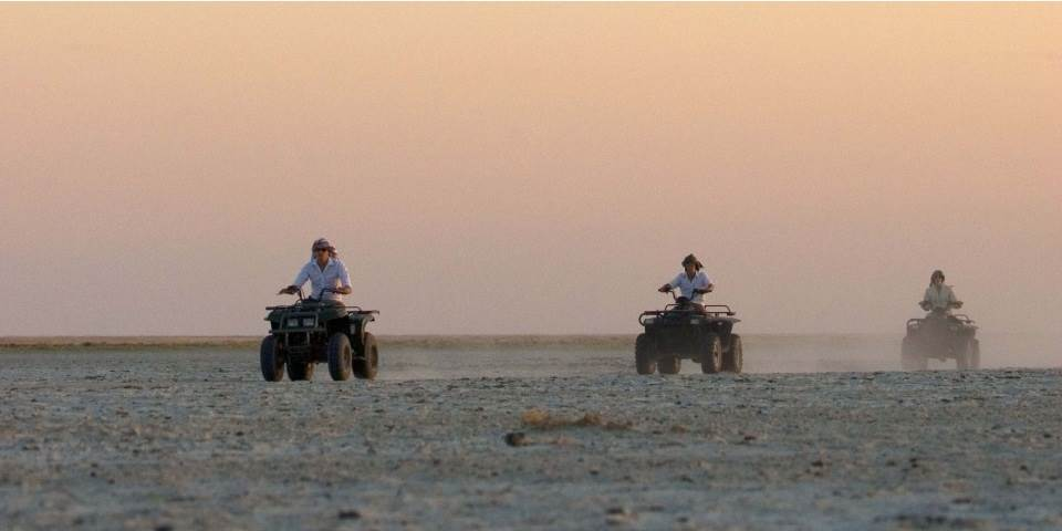 Quad bike safari from San Camp across the Makgadikgadi Pans