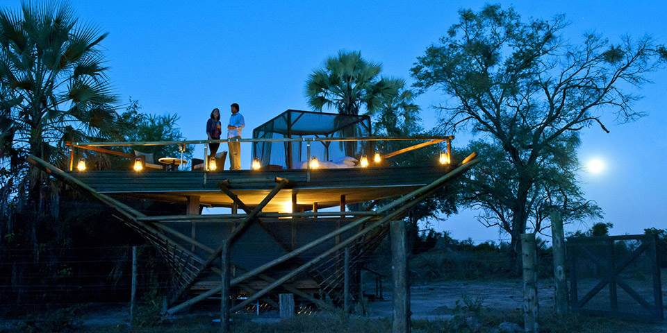 Star beds at luxury Abu Camp in the Okavango Delta