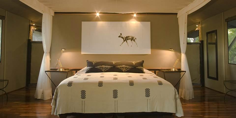 Bedroom at luxury tented Chitabe safari camp
