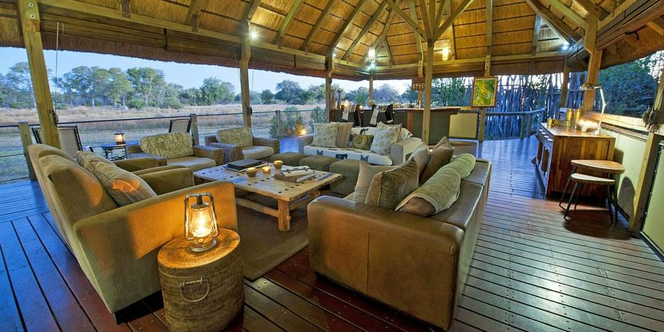 lounge area at Chiabe Lediba safari camp in Botswana