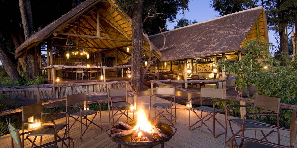 Exterior of luxury Duba Plains safari camp