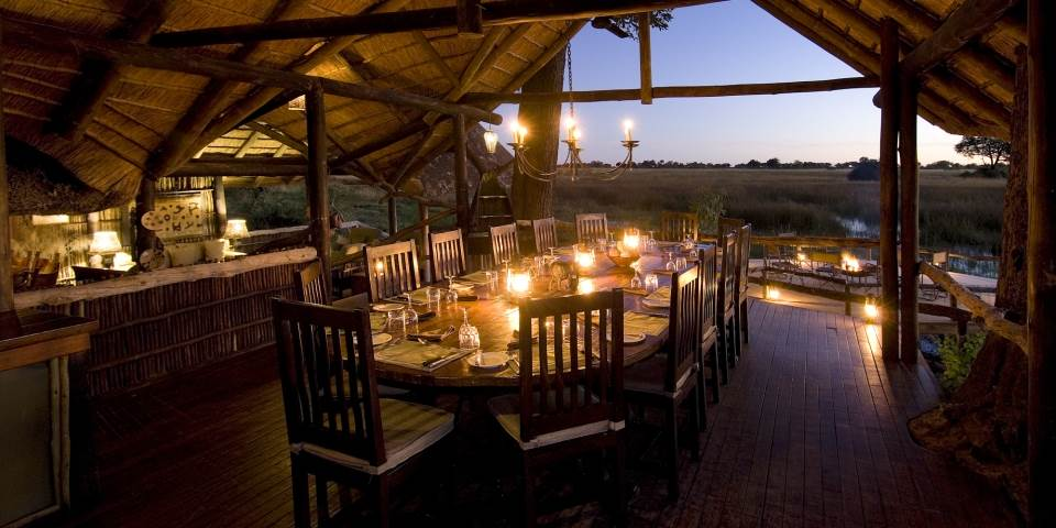 Dining area at Duba Plains safari camp Botswana