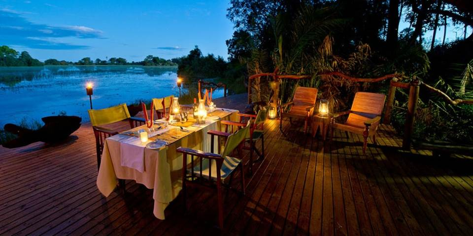 Outside dining area at Jacana safari camp in Botswana