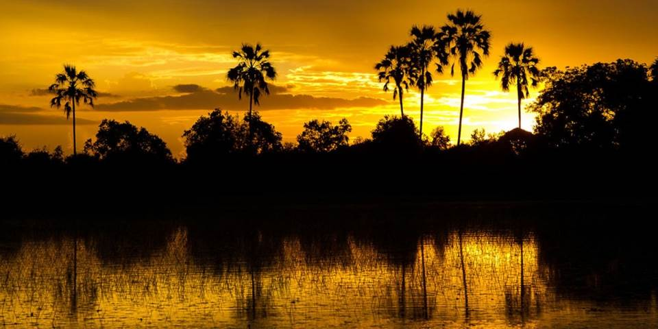 Sunset over the Okavango Delta from Jacana safari camp