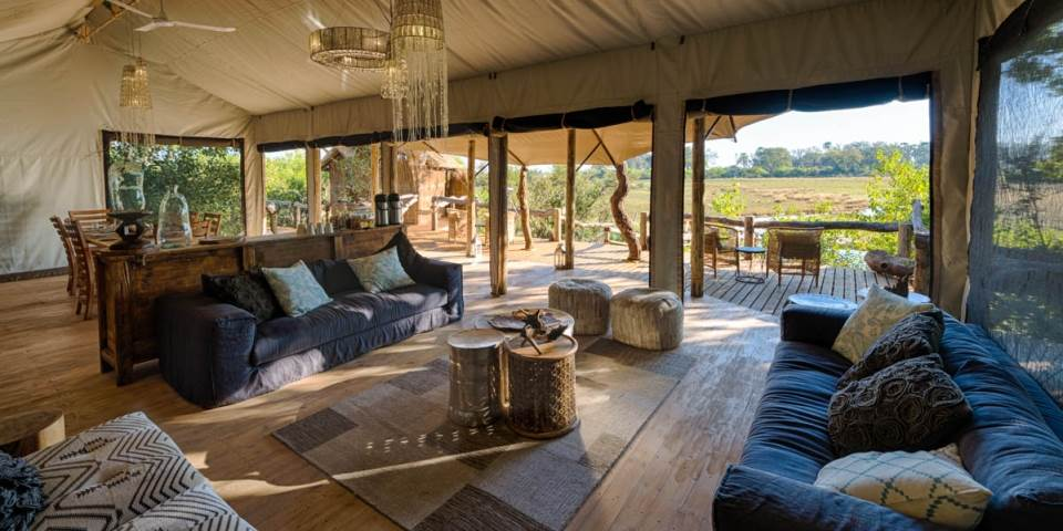 Lounge at luxury Little Tubu Tree Camp in Botswana's Okavango Delta