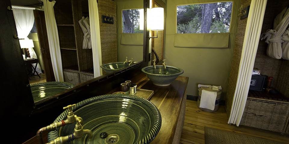 Luxury bathroom interior at Little Vumbura safari camp