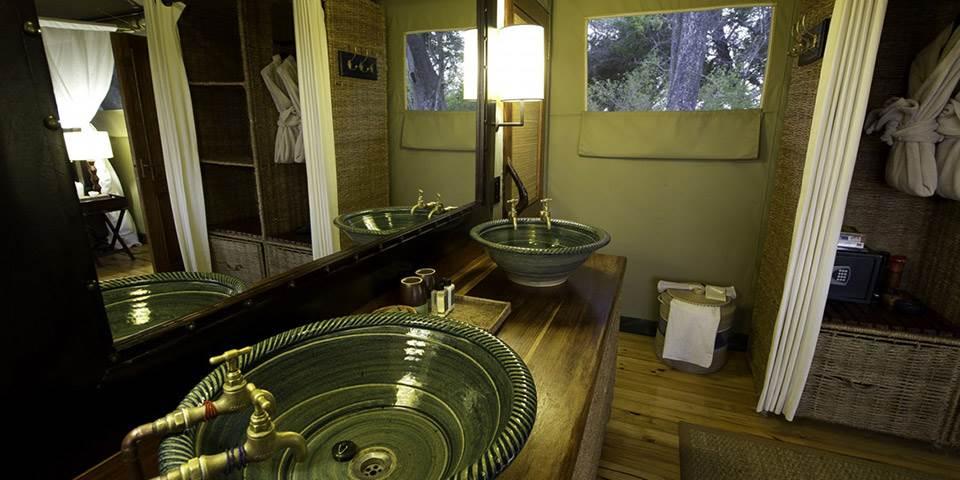Luxury bathroom interior at Little Vumbura safari camp