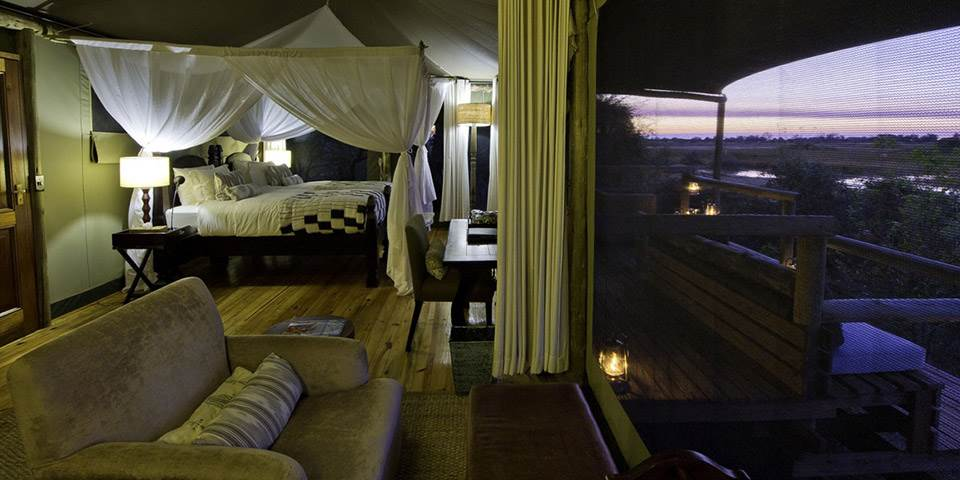 Little Vumbura safari camp bedroom interior