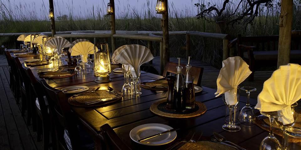 Dining table at Little Vumbura luxury safari camp