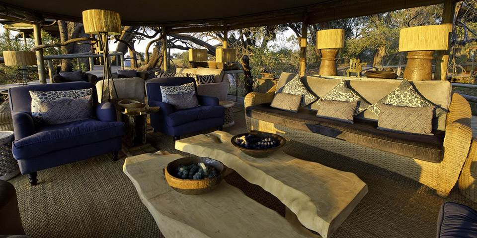 Luxury guest lounge area at Little Vumbura safari camp