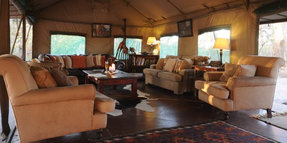 Tented lounge area at Macatoo safari camp