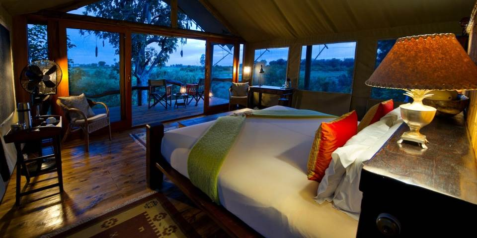 Interior of luxury Tubu Tree safari camp