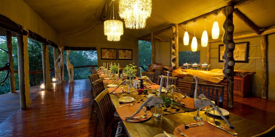 Luxurious dining room interior at Tubu Tree camp Botswana