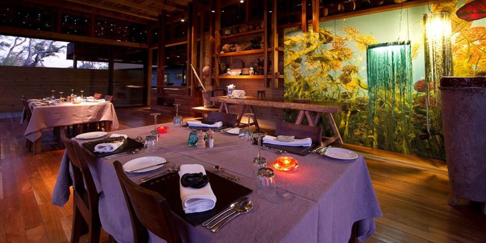 Dining room in luxury Vumbura Plains safari camp